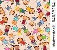 Young boys and girls in seamless pattern. Vector version also available in gallery - stock photo