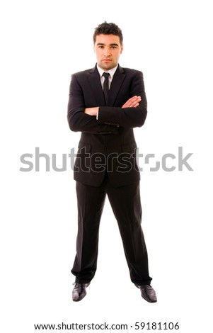 young business man full body on white background