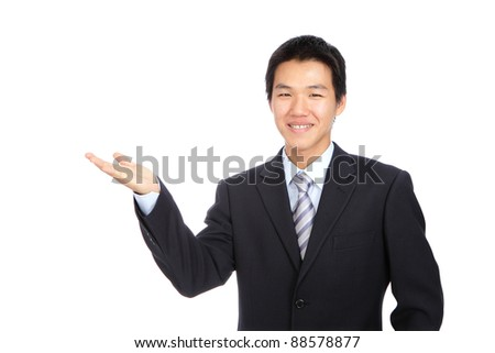 Young business man smile introduce with hand gesture