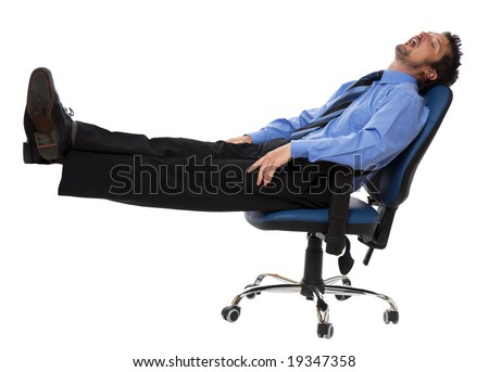 young business men sleeping in a chair isolated on white