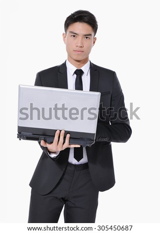 young business men with laptop in studio