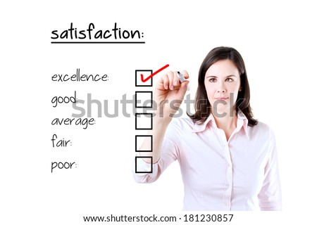 Young business woman checking excellence on customer satisfaction survey form. Isolated on white.