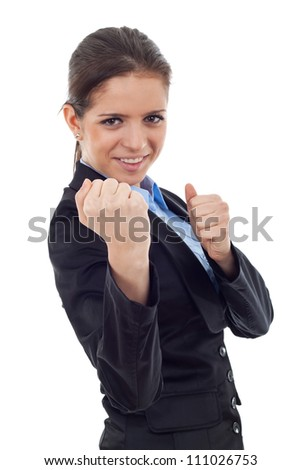 young business woman fighting with you - en garde position on white background