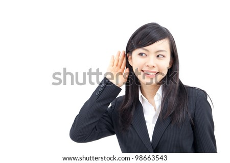 young business woman listening, isolated on white background