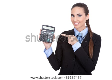Young Business woman pointing in calculator, isolated on white background