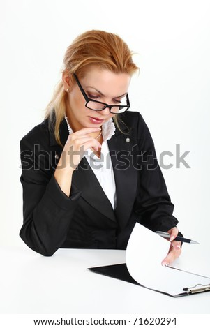Young business  woman  wearing glasses with documents on a white background