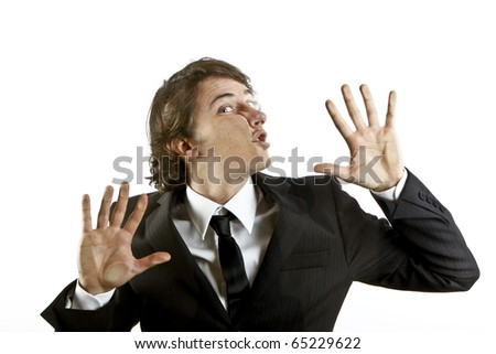 young businessman crushed on a glass