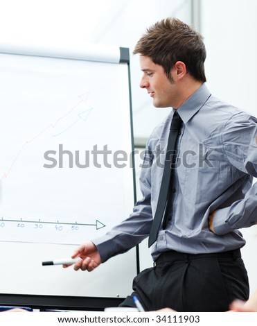 Young businessman giving a presentation to his team