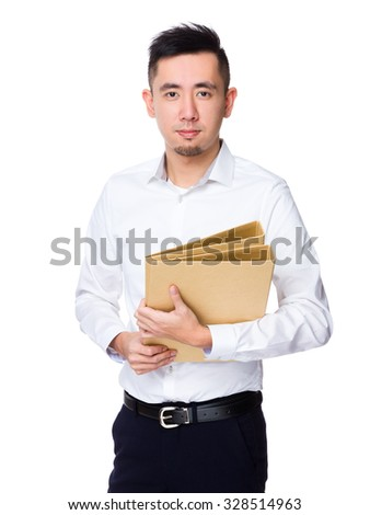 Young Businessman hold with folder