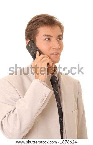 Young businessman on cell telephone