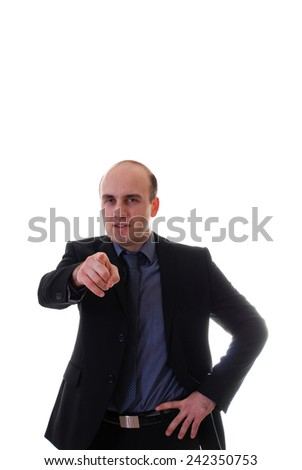 Young businessman points his finger on white background