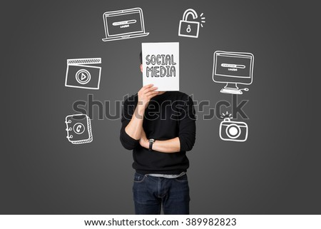Young businessman present social media communication concept