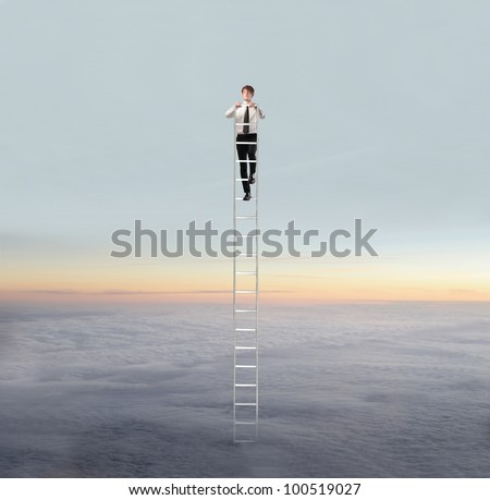 Young businessman standing on a ladder in the sky