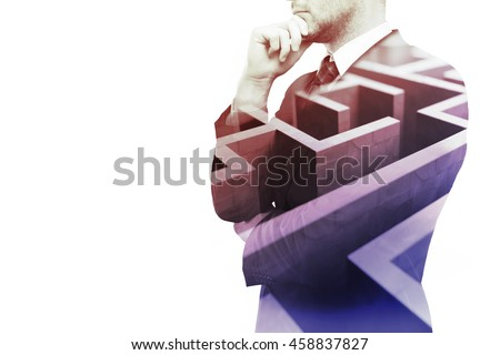 Young businessman thinking about ways to overcome business obstacle. Isolated on white background with maze and copy space. Double exposure