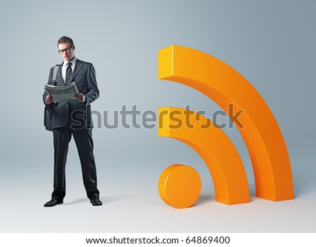 young businessman with newspaper and rss symbol