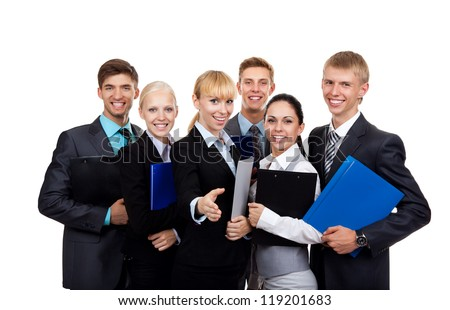 young businesspeople standing together smile hold folder clipboard, Business people group team, Isolated over white background