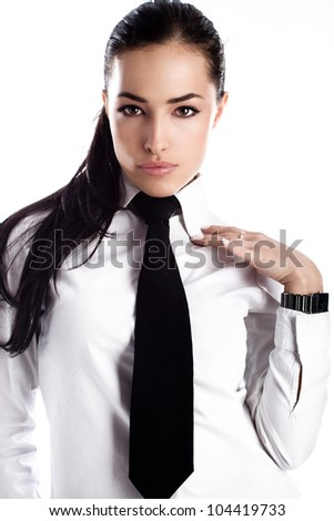 Beautiful Young Business Woman White Shirt Stock Photo 102286393 ...