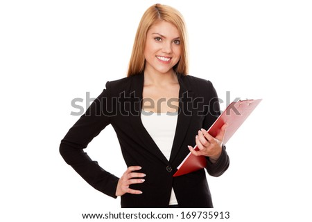 Young businesswoman, isolated on white background