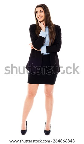 Young businesswoman standing with hand on chin, full length portrait