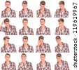 young casual man face expressions collage isolated on white background - stock photo