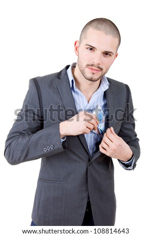 young casual man with lots of money, isolated