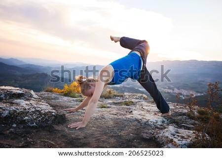 disabled man prosthetic leg jumping patagonia stock photo