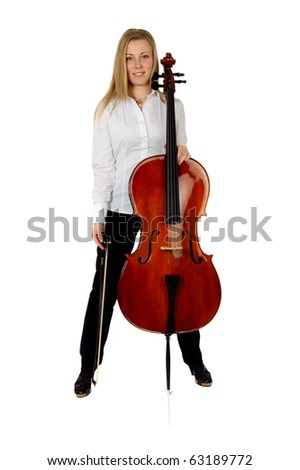 Young cellist standing astride on white background - stock ...