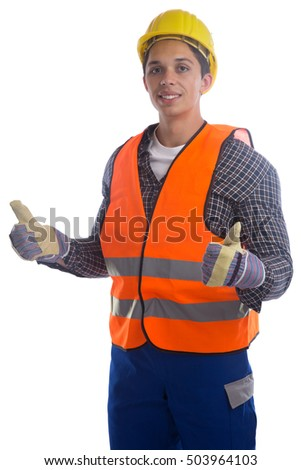 Young construction worker job thumbs up isolated on a white background