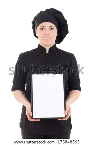 young cook woman in black uniform showing clipboard isolated on white background