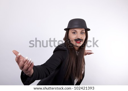Young cool girl with hat and moustaches