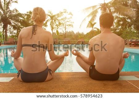 Young Man Make Meditation Lotus Pose Stock Photo 527130928 Shutterstock