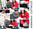 Young couple paying bill at home - stock photo