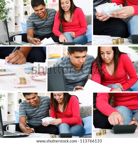 Young couple paying bill at home
