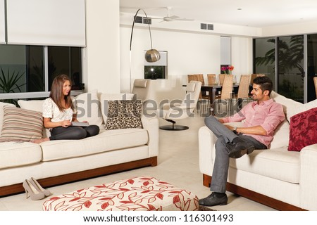 Modern living room couches tv new stock photo 111459104 for Young modern living room