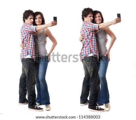 Young couple taking photo with their phone mobile isolated on white background. Two images with different expressions.