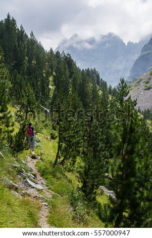 Young couple traveling in Prokletije Mountains, Montenegro