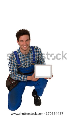 Young Craftsman Artisan With A Tool Belt And Tablet
