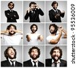 young crazy business man joking collection - stock photo