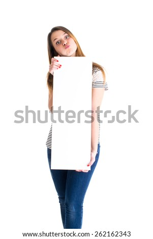 Young cute woman holding white panel.