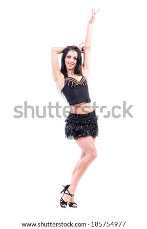young dancer woman dancing against isolated white background