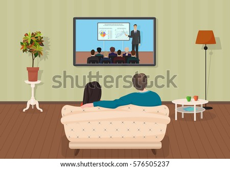 Young family man women watching tv stock vector 405671458 for Living room tv channel 10