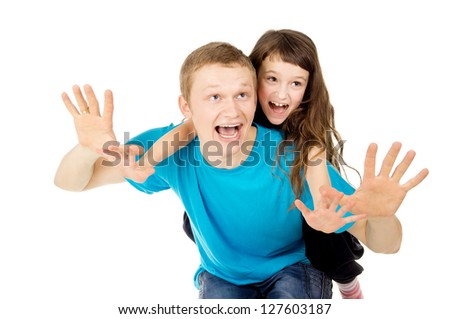young father and his daughter happy play