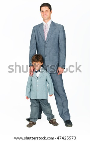 young  father with a son, dressed in a suit