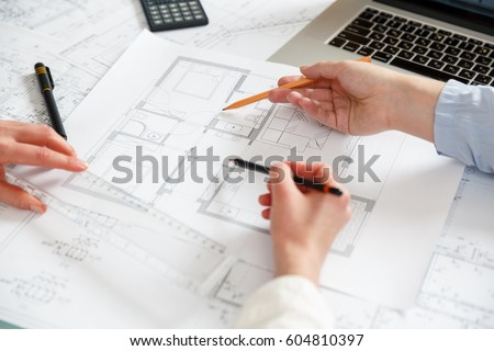Young Female Architect Designer Working On Stock Photo 604811846 ...