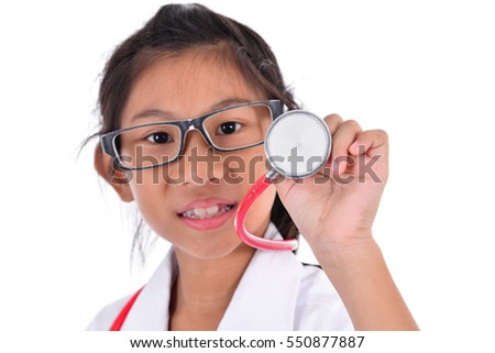 Young female doctor using stethoscope, isolated over a white background, selective focused