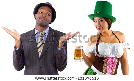 young female dressed in St Patty's costume serving customers