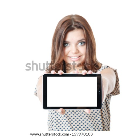 young female showing tablet pc smiling isolated on white focus on tablet