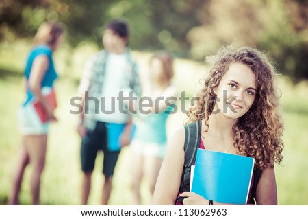 Young Female Student at Park,Italy