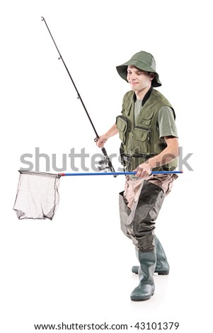 Young fisherman holding a fishing net isolated on white background