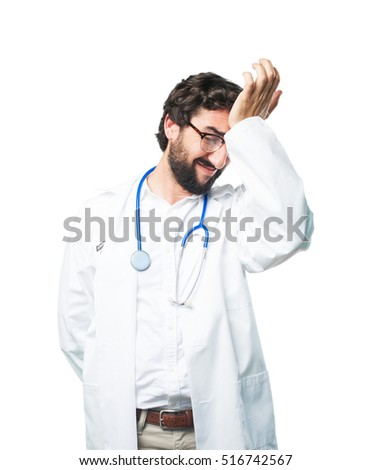young funny man loser pose. doctor concept
